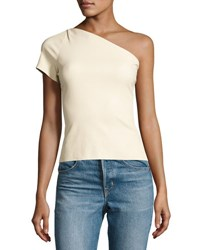 Helmut Lang One Shoulder Stretch Leather Top White