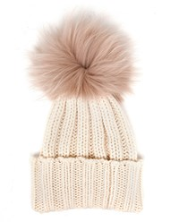 Inverni Cashmere And Fur Beanie Cream Black