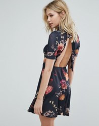 Oh My Love Tea Dress With Open Back In Floral Print Black Vintage Flroal