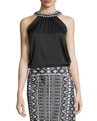 Kobi Halperin Florence Silk Beaded Halter Blouse Women's Black