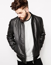 Asos Leather Quilted Bomber Jacket Black