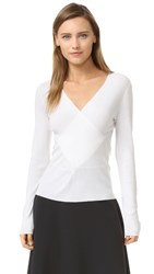Tome Long Sleeve Wrap Top White