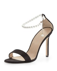 Manolo Blahnik Chaos Pearly Ankle Wrap Sandal Black