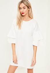 Missguided White Frill Sleeve Shift Dress