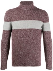 Fay Block Stripe Sweater Grey