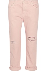 Acne Studios Distressed High Rise Straight Leg Jeans Pink