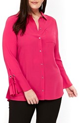 Evans Plus Size Women's Lace Up Cuff Shirt Red