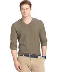 Izod Allover Links V Neck Fine Gauge Sweater Taupe Htr