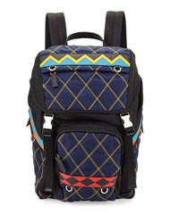 Prada Patterned Nylon And Leather Utility Backpack Navy White