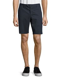 French Connection Solid Cotton Shorts Marine Blue