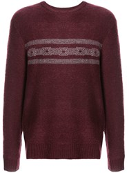 Michael Bastian Striped Detail Sweater Red