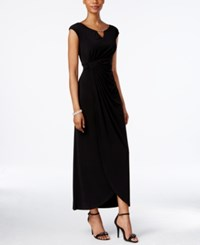 Connected Embellished Faux Wrap Gown Black