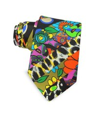 Moschino Multicolor Animal Print And Flowers Printed Twill Silk Narrow Tie