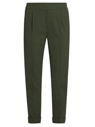 Vince Tapered Leg Crepe Cropped Trousers Dark Green
