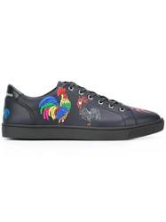Dolce And Gabbana London Rooster Print Sneakers Blue