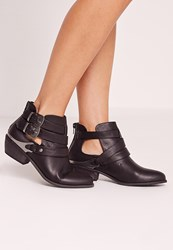 Missguided Western Buckle Ankle Boot Black