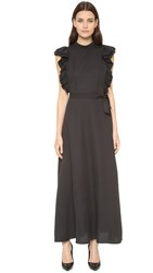 Shakuhachi Open Back Ruffle Dress Black