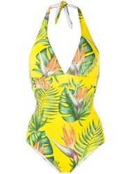 Mc2 Saint Barth Marylin Tropical Print Swimsuit Yellow