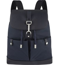 Mulberry Marty Leather And Nylon Backpack Midnight Blue