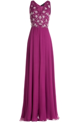 Jenny Packham Embellished Silk Evening Gown