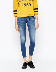 Blend She Glow Cherry Ankle Grazer Jeans With Destroy Blue