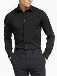 Smyth And Gibson Stretch Cotton Poplin Tailored Fit Shirt Black