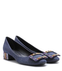 Roger Vivier Belle De Nuit Embellished Denim Pumps Blue