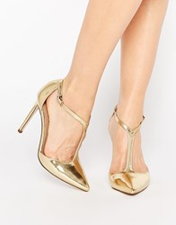 Asos Popular Wide Fit Pointed High Heels Gold