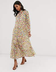 Neon Rose Volume Maxi Shirt Dress In Vintage Ditsy Floral Multi