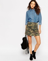 Asos A Line Mini Skirt In Camo Print With Button Through Multi