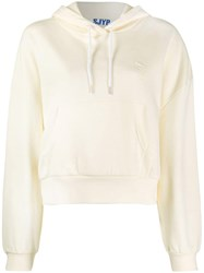 Sjyp Embroidered Logo Hoodie White