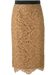 Marco Bologna Lace Pencil Skirt Brown