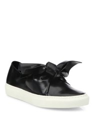 Cedric Charlier Leather Bow Skate Sneakers Black
