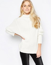 Vila Indie High Neck Textured Jumper In White Indie High Neck
