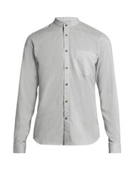 Orley Raw Edge Granddad Collar Cotton Shirt Light Grey