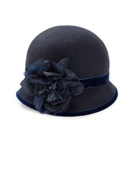 Kathy Jeanne Floral Wool Cloche Hat Navy Blue