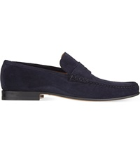 Stemar Suede Penny Loafers Navy
