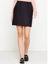 Jigsaw Pressed Flannel Buttoned Skirt Navy