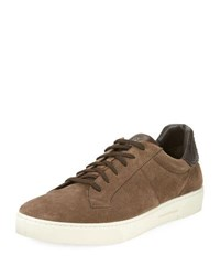 Ermenegildo Zegna Vulcanizzato Men's Suede Low Top Sneaker With Maserati Embossed Logo Brown