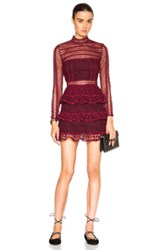 Self Portrait High Neck Paneled Dress In Red