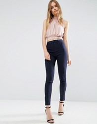 Asos High Waist Trousers In Skinny Fit Navy