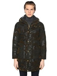 Moncler Gamme Bleu Camo Wool Twill And Knit Down Parka
