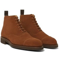 George Cleverley William Cap Toe Suede Boots Brown