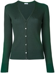 Estnation Ribbed V Neck Cardigan Women Cotton 38 Green