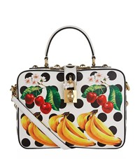 Dolce And Gabbana Dauphine Printed Top Handle Bag Female White