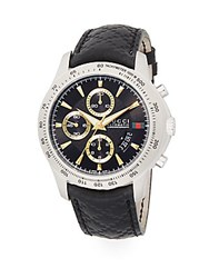 Gucci Tachymeter Chronograph Stainless Steel And Leather Band Watch Silver Black