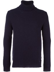 Woolrich Roll Neck Long Sleeve Sweater Blue
