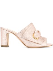 Rupert Sanderson Metallic Mid Heel Mules Pink And Purple