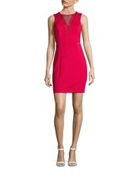 Guess Sleeveless Mesh Inset V Back Sheath Dress Red