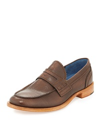 Robert Graham Worth Pebbled Leather Penny Loafer Cognac